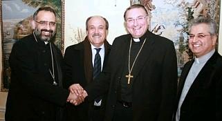 Fr. Maximos Saikali (St. Antonios, Orthodox), Honorary Consul Wadih Fares (Lady of Lebanon), Archbishop Anthony Mancini (Catholic), Fr. Pierre Azzi (Our Lady of Lebanon, Maronite).