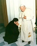 Maronite Priest Fr. Kheirallah Aoukar with the former Pope.