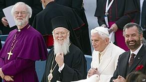 Archbishop of Canterbury (Anglican), Patriarch Bartholomew I (Orthodox), Pope Benedict XVI (Catholic), & Rabbi David Rosen (Judaism).