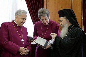 Bishop Dawani & Bishop Schori (Anglican), & the Patriarch of Jerusalem (Orthodox).