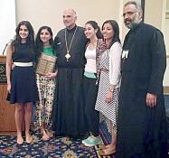 Christina Lawen, Elianna Saikali, His Grace Bishop Alexander, Elianna Hage, C. El-Chaar, Fr. Maximos Saikali.