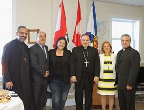 Fr. Maximos Saikali, Wadih Fares (Lebanese Consul Halifax), MLA Patricia Arab, Bishop Marwan Tabet, The Honourable Lena M. Diab, Fr. Pierre Azzi.
