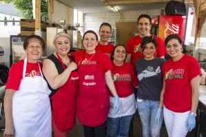 Volunteers at the Lebanese Festival: (), (), Georgina Kanaan, Georgina's husband, Susan Masaan, Nadim Ayoub, Vicky Mina, ()