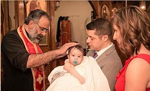 Fr. Saikali, and the child of Rena Tsaltas-Zakhour and Peter Tsaltas.