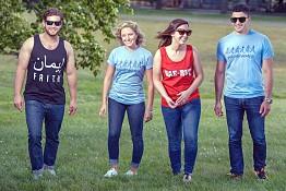 Ted Assaly, (), Vanessa Nasrallah, & Joe Joukhadar sporting fundraising shirts.