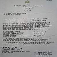 Letter from Metropolitan Philip Saliba indicating that the organization was now a mission under the patronage of Saint Antonios (May 20, 1980).