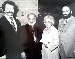 Bassam Nahas, Archbishop Elia Saliba, Latify Boudreau, Moufeed Khoury.  Archbishop E. Saliba visited in 1980 to evaluate the community's desire to establish an Antiochian Orthodox Church in Halifax.